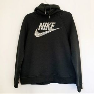 Nike Funnel Cowl Neck Black Pullover Hoodie